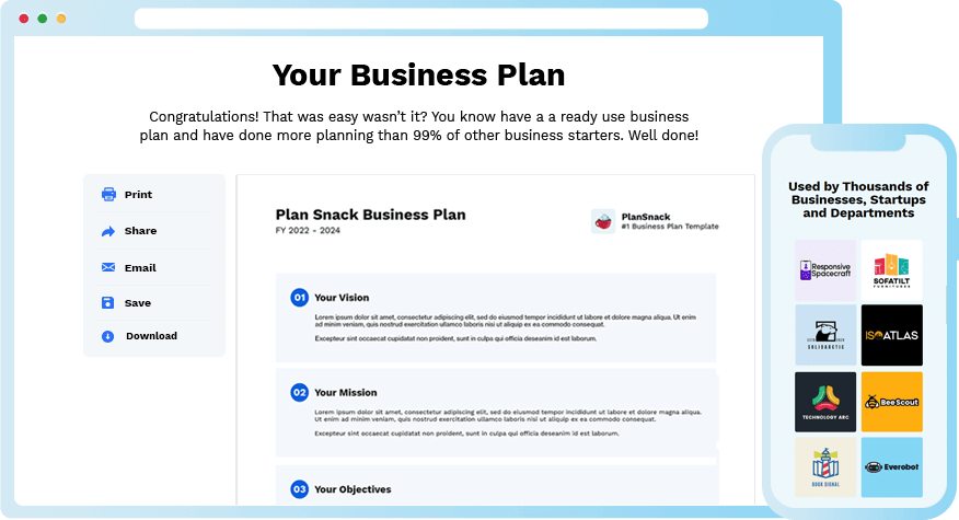 Plansnack Business Plan Template Screenshot